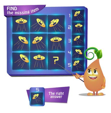 Visual Game For Children Summer Task Find The Missing Item Shape Illustration
