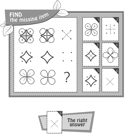 Visual Game for children summer. Task: find the missing item shape. Black and white vector illustration