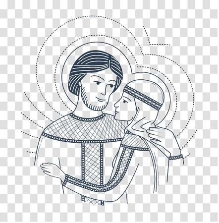Icon of love. saint Peter and Fevronia Muromskie, slovyane in Russia. Icon, silhouette in the linear style Illustration