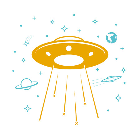 UFO icon in the starry sky. Icon in the linear style
