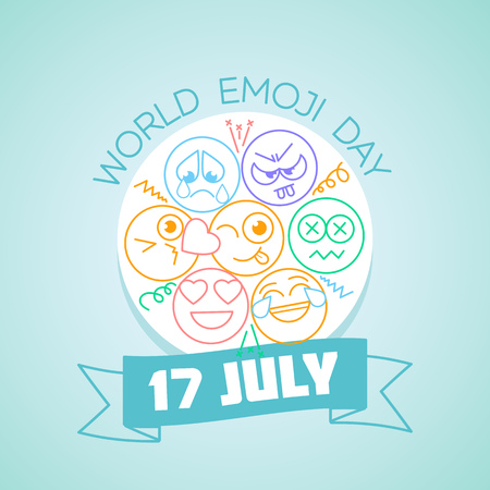 Calendar for each day on july 17. Greeting card. Holiday -  World Kiss Day. Icon in the linear style