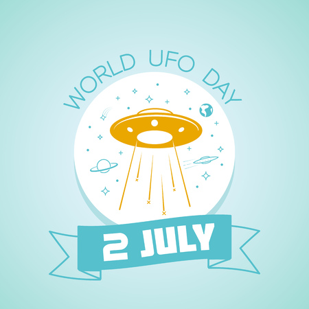 Calendar for each day on july 2. Greeting card. Holiday - World UFO Day. Icon in the linear style