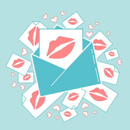 Concept of love in the form of an envelope with kisses. Icon in the linear style Illustration