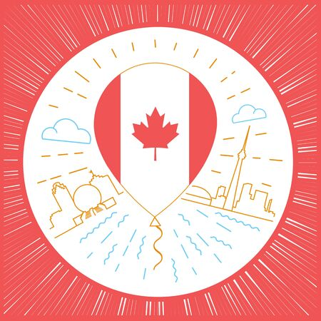 red balloons: Concept of traveling to Canada in the form of a balloon with a Canadian flag on a city landscape background Icon in the linear style