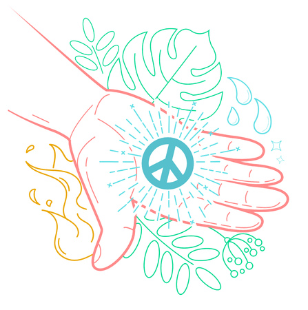 The concept of peace in the form of a hand with the symbol of peace giving life to the world. Icon in the linear style
