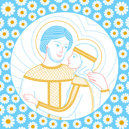 Icon of lovers on the background of chamomiles. Saint Peter and Fevronia Muromskie. Icon in the linear style 向量圖像