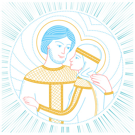 Icon of love. saint Peter and Fevronia Muromskie, slovyane in Russia. Icon in the linear style
