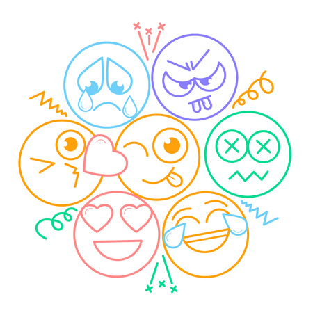 Icon with smiles and emotions  in a linear style