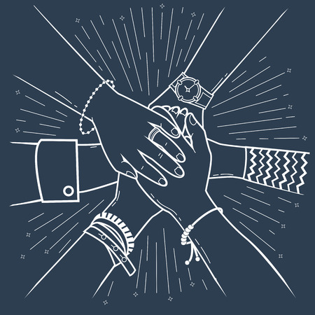 Concept of a successfully concluded transaction in the form of people making pile of hands Icon, silhouette  in the linear style