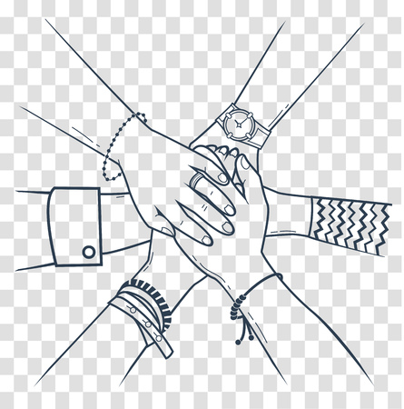 The concept of friendship and support in the form people making pile of hands. Icon, silhouette in the linear style Vectores
