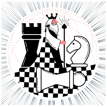 Icon of the global chess game with the world in the form of a chess king with figures