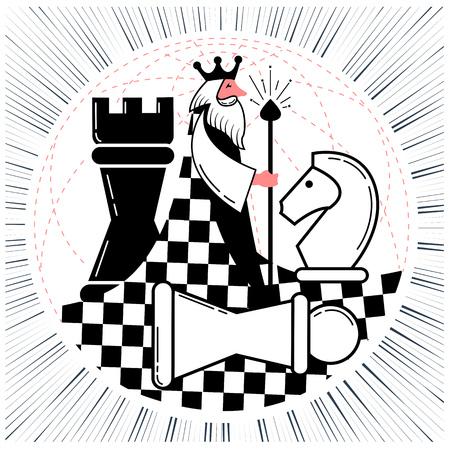 Icoon van het wereldwijde schaakspel met de wereld in de vorm van een schaakkoning met figuren