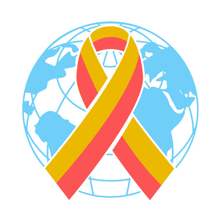 hepatitis prevention: Icon on the World Hepatitis Day. Vector illustration of a Ribbon for World Hepatitis Day.