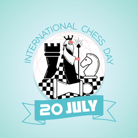 Calendar for each day on july 20. Greeting card. Holiday -   International Chess Day. Icon in the linear style