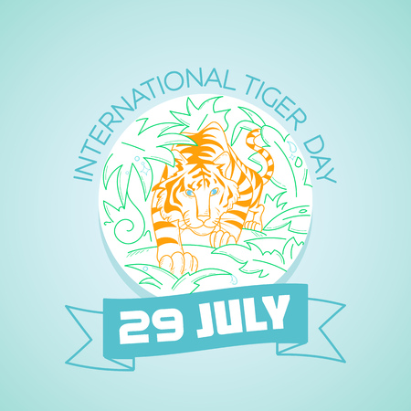 Calendar for each day on july 29. Greeting card. Holiday - International Tiger Day. Icon in the linear style Illustration