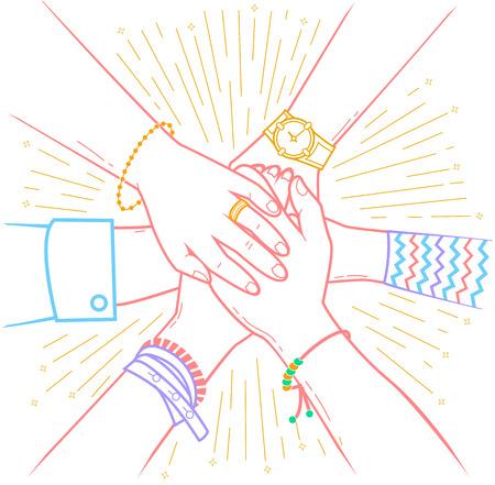 Concept d'une transaction conclue avec succès sous la forme de personnes faisant une pile de mains Icône dans le style linéaire