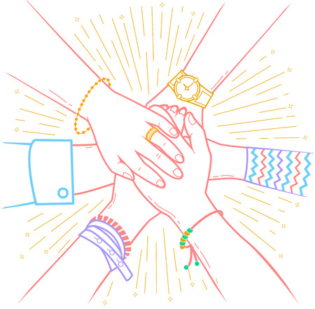 Concept of a successfully concluded transaction in the form of people making pile of hands Icon in the linear style Illustration
