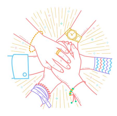 Le concept d'amitié et de soutien sous la forme de personnes faisant des tas de mains. Icône dans le style linéaire