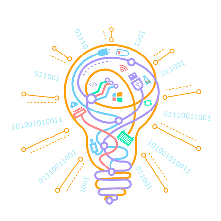A concept of the work of programmers, system administrators, ideas in the form of a light bulb with different wires . Icon in the linear style