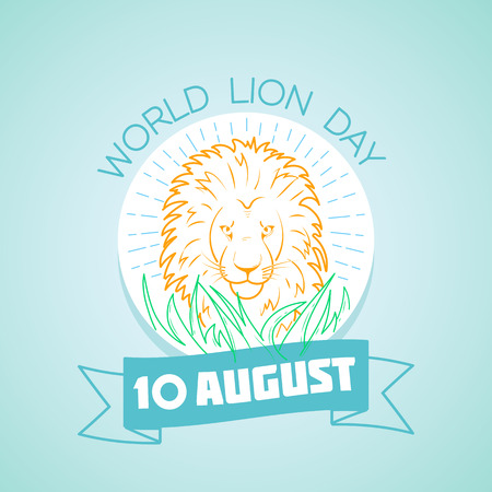 Calendar for each day on august 10. Greeting card. Holiday -   World Lion Day. Icon in the linear style