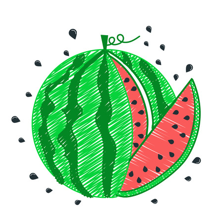 children silhouettes: Childrens drawing Watermelon icon, its piece and seeds. Icon, silhouette in the linear style