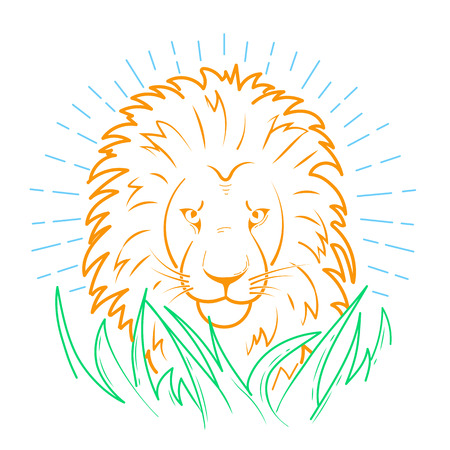 Icon of a lion in the grass in the linear style Illustration
