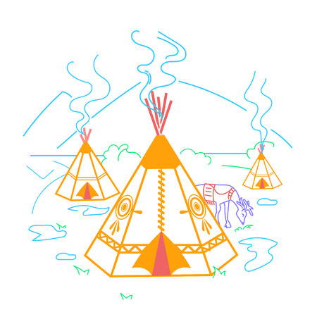Illustration of life indigenous people in the form of a wigwam, a deer. Icon in the linear style