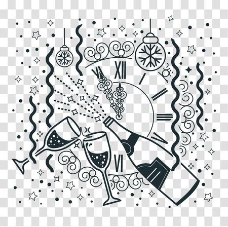 Ilustração da celebração do ano novo com copos de champanhe, fogos de artifício no fundo das horas festivas. Ícone, silhueta em estilo linear