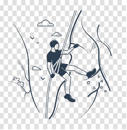 Icon of a man  climber climbing a mountain. Icon, silhouette in the linear style