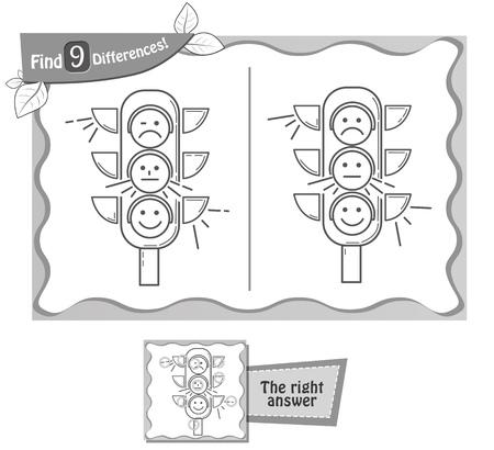 Een visueel spel voor kinderen, kleurboek. Taak om 9 verschillen in de afbeelding op het schoolbestuur te vinden. zwart en wit vectorillustratie Stockfoto - 82559365
