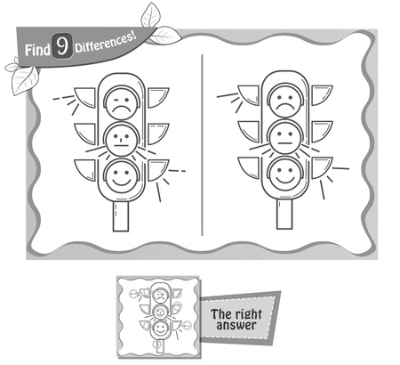 A visual game for children, coloring book. Task to find 9 differences in the illustration on the school board. black and white vector illustration