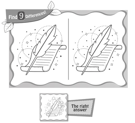 poet: visual game for children, coloring book. Task to find 9 differences in the illustration on the school board. black and white vector illustration