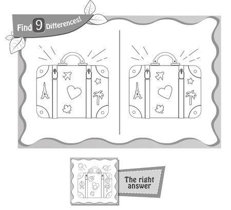 Visueel spel voor kinderen, kleurboek. Taak 9 verschillen in de afbeelding op het schoolbord vinden. Zwart-witte vector illustratie Stock Illustratie