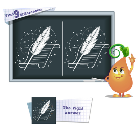 poet: A visual game for children and adults. Task to find 9 differences in the illustration on the school board.