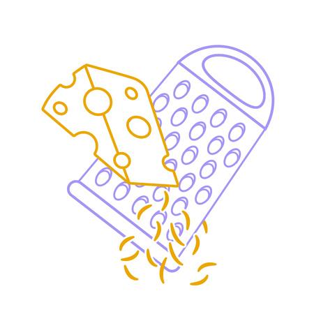 라인 스타일의 격자 무늬 치즈 아이콘