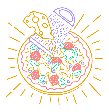 Pizza icon with cheese in a linear style