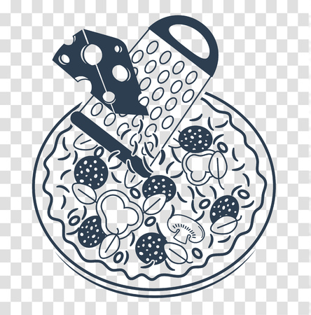 Silhouette of pizza with grater and cheese