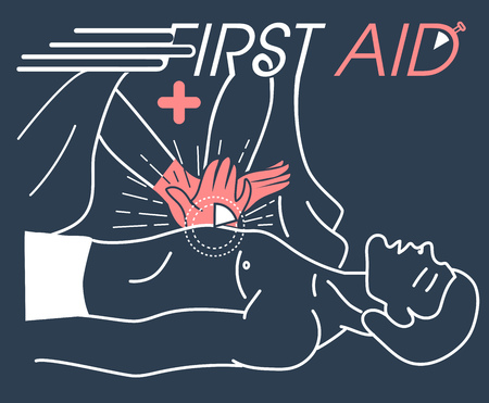 concept of the first medical aid to the patient, the indirect massage of the heart. banner in the linear style
