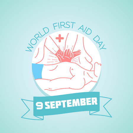 Calendar for September 9. Greeting card. Holiday -  World First Aid Day. Icon in the linear style