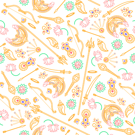 Seamless pattern with the objects of the Goddess Durga on the Indian holidays of Navratri, Dussehra . Vintage decorative elements. Hand drawn background. Perfect for printing on fabric or paper.