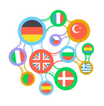Concept of language learning in the form interrelated flags of different countries. Vetores