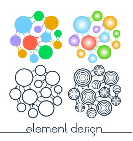Abstract design of concept of merging element as a logo symbol. Illustration