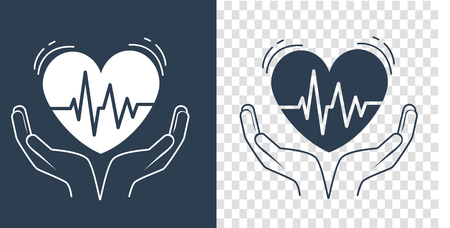 concept of treatment, caring for the heart, in the form of hands holding the heart, which pulses. Icon in the linear style. black and white silhouette