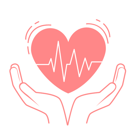 concept of treatment, caring for the heart, in the form of hands holding the heart, which pulses. Icon in the linear style Иллюстрация