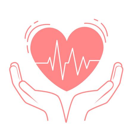 Konzept der Behandlung, Pflege des Herzens, in Form von Händen, die das Herz halten, die Impulse. Icon im linearen Stil Standard-Bild - 87000538