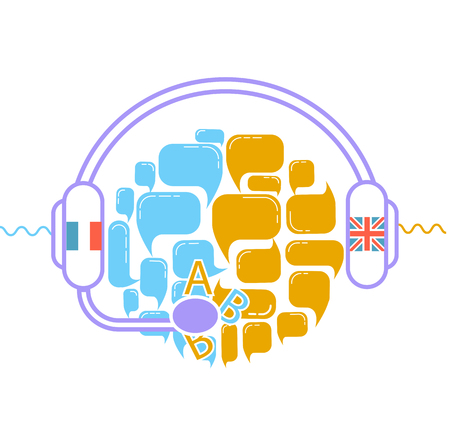 concept of translation in the form of headphones and interacting questions. Icon in the linear style