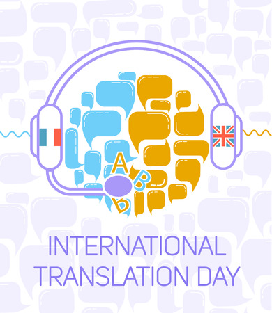 polyglot: Greeting card. Holiday -International Translation Day. Icon in the linear style