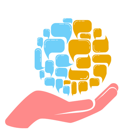 concept of the work of a psychologist and his help in combining different opinions. Icon in the linear style