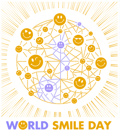 Greeting card. Holiday - World Smile Day on a white background. concept of charging the smile of the whole world Illustration