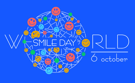 Greeting card, banner. Holiday - World Smile Day on a white background. concept of charging the smile of the whole world
